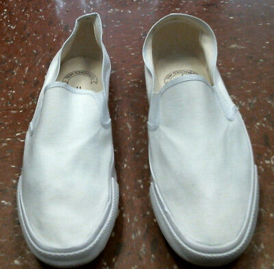 Bob Barker Step-In White Canvas Arch Support Deck Shoes Mens 12 Women 14 NEW