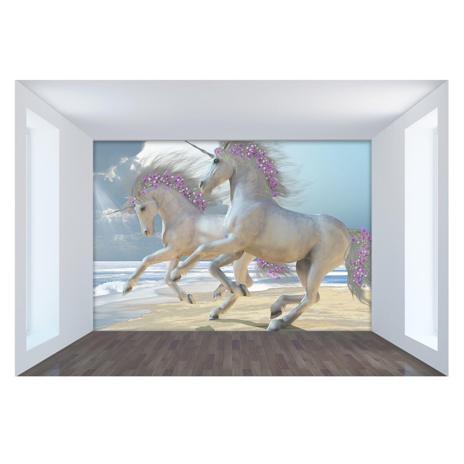3D 3D 3D Beautiful Unicorn Sea 8 Wallpaper Mural Print Wall Indoor Wallpaper Murals UK 906342