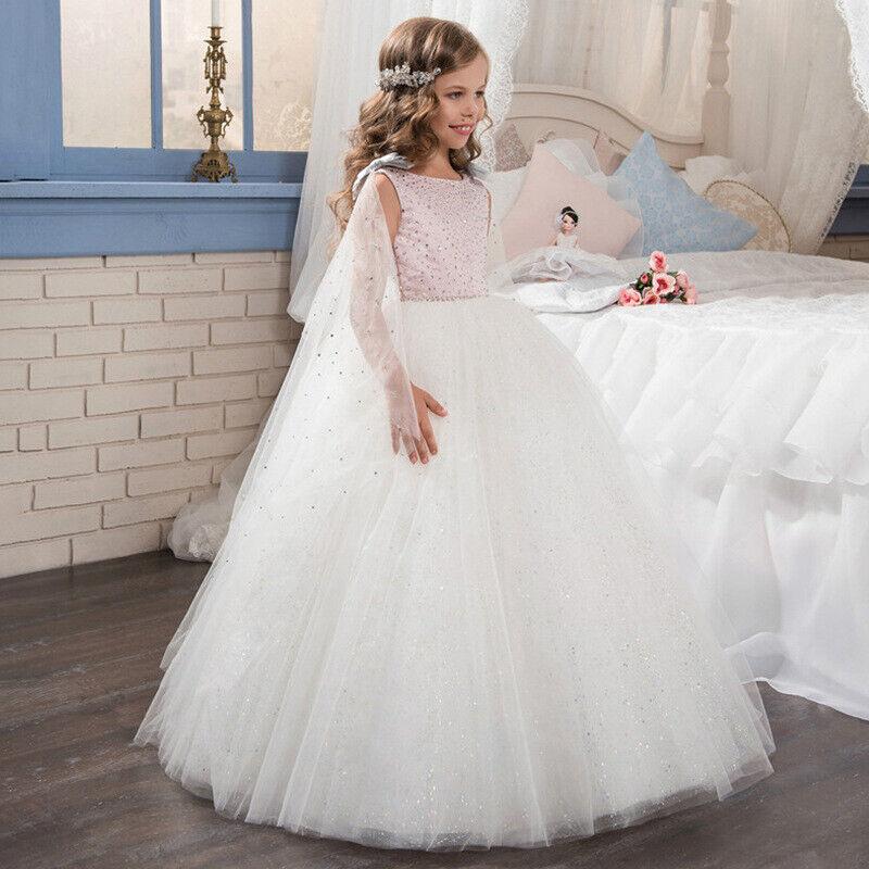 Children Girls ABAO Elegant White Floor-Length Flower Girl Ball Gown Dress 2-13T