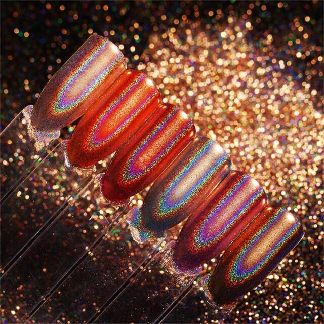 Champagne Rose Gold Holo Rainbow Chrome Mirror Pigments Powder Nail ...