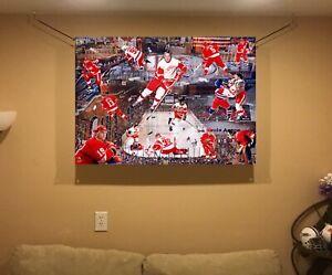 HUGE!! 43x32 DETROIT RED WINGS  Vinyl Banner POSTER art Bob Probert gordie howe