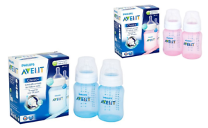 Avent-PHILIPS-2X-Bottle-260ML-PINK-BLUE-Classic-Natural