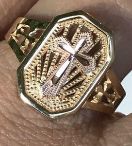 GOLD-14k-ring-Cross-Yellow-Rose-8-6-7-9-10-2-4g