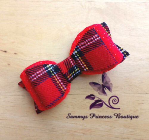 "CUTE 3/"" RED CHRISTMAS TARTAN GLITTER FELT HAIR BOW CLIP GRIP SLIDE"