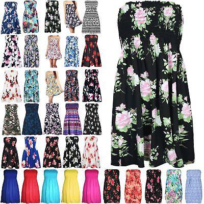 Gerade Womens Ladies Floral Sheering Ruched Flared Swing Bandeau Boobtube Top Plus Size