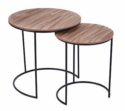 Metall Beistelltisch schwarz mit Holz Tischplatte - 2er ...