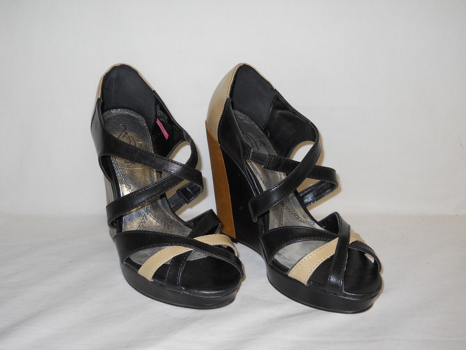 Baby Phat New Display Model Womens Juno Black Tan Wedge Sandals 7.5 M shoes