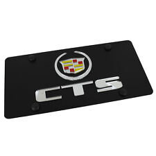 Cadillac Silver Logo + CTS Name On Carbon Stainless Steel License Plate