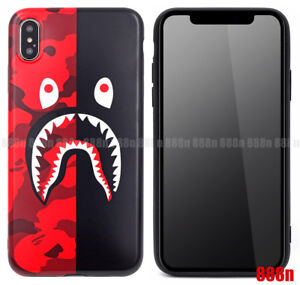 cheap for discount fa7cc a434e Details about A Bathing Ape Bape Shark Black Red Camo Case For Apple iPhone  XS Max XR X 8 7 6