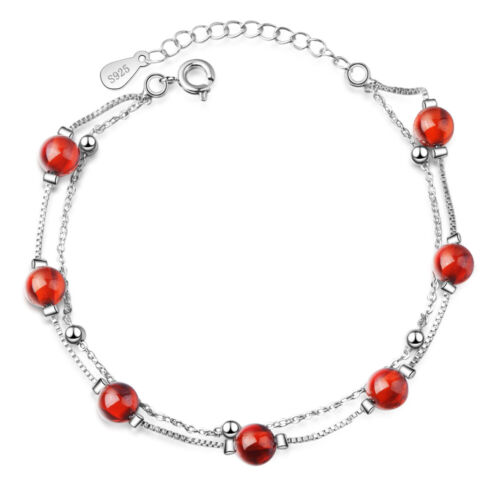 925 Sterling Silver Vintage Red Garnet Beads Charm Bracelet Jewelry For Women
