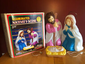 """3 Piece 28.5/"""" White Nativity Set Lighted Blow Mold outdoor//indoor Christmas Dec"""