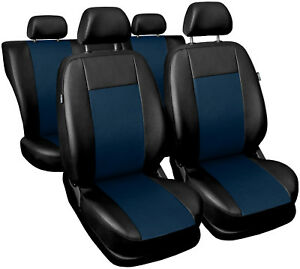 Car-seat-covers-fit-FORD-FOCUS-Mk1-Mk2-full-set-leatherette-black-navy-blue