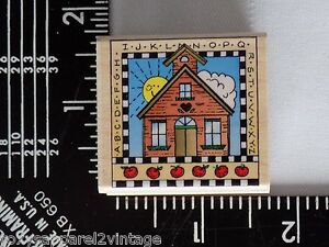ABC-Schoolhouse-Wood-Mounted-Rubber-Stamp-Gently-Used-1996-Hero-Arts-C1142