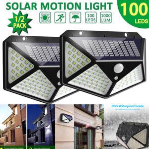 100 LED Solar Powered PIR Motion Sensor Wall Security Light Outdoor 3 Modes Lamp