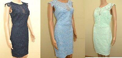 New Lipsy Michelle Keegan Navy Blue Ivory Lace Dress Sz UK 10 12