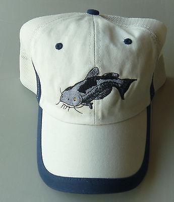 NEW, Catfish, Okie,  Noodling,  Mudcats,  Beige/mesh  fishing hat/cap