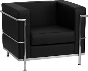 BLACK-LEATHER-SOFT-LE-CORBUSIER-LC2-LC3-STYLE-CHAIR-STAINLESS-FRAME-COMMERCIAL