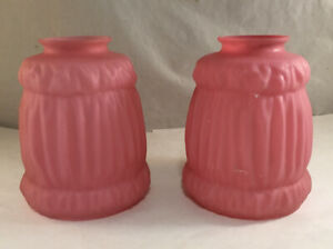 PAIR OF ANTIQUE PINK SATIN ART GLASS LAMP SHADES VICTORIAN