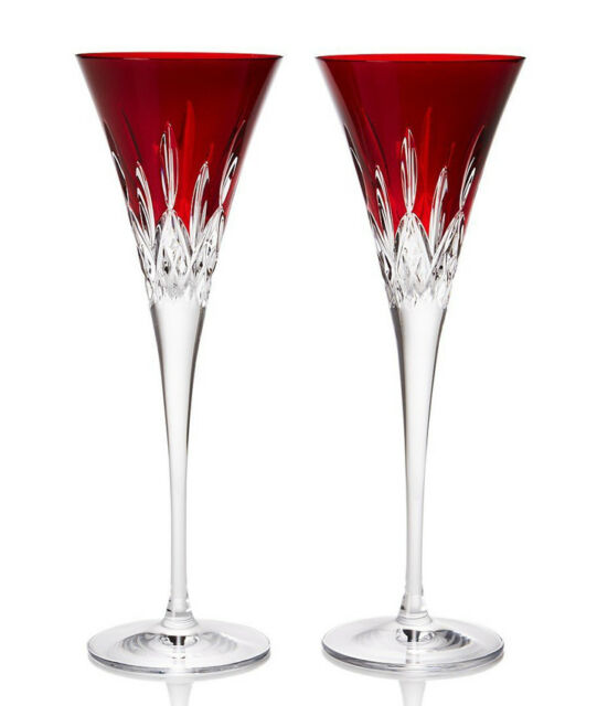 Waterford Lismore Pops Red Champagne Flutes Set of 2 Crystal #40026611 New Boxed