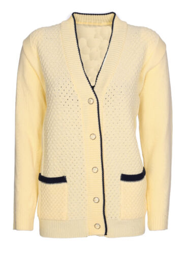 Women Ladies Long Sleeve Button Top Chunky Aran Cable Knitted Grandad Cardigans