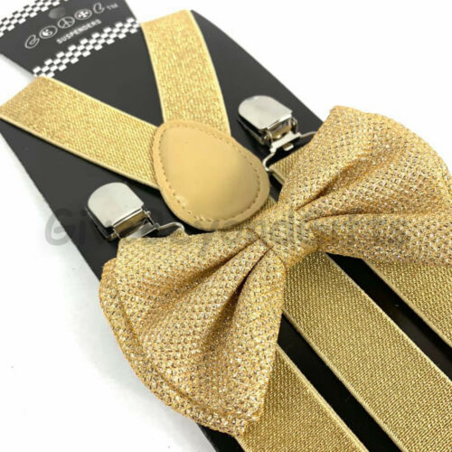 Suspender and Bow Tie Adults Men Gold Glitter Wedding Formal Wear Accessories