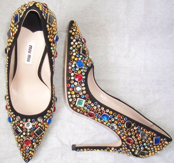 MIU MIU Black Suede Crystal Jeweled Pointed Toe Pumps Shoes 37