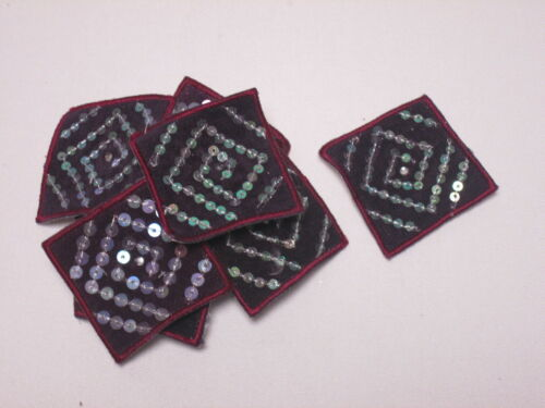 10 x Embroidered Purple Felt Square Sequin Arts Crafts Card Making Motifs #9B121