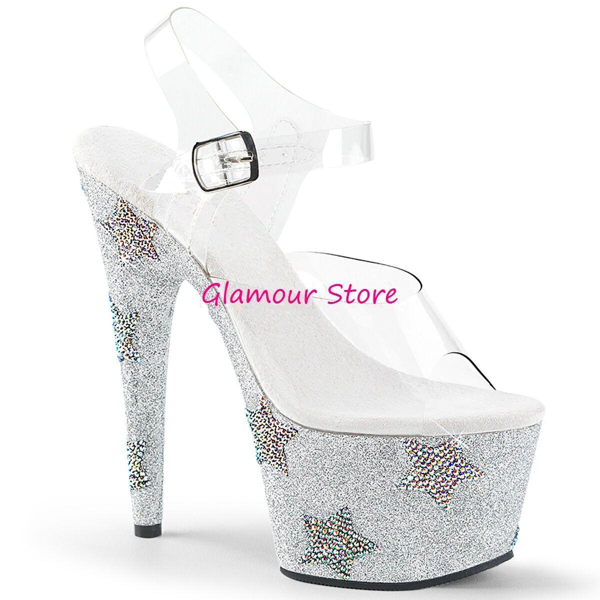 Sexy SANDALI GLITTER STRASS tacco 18 plateau dal 35 al 40 plata zapatos GLAMOUR