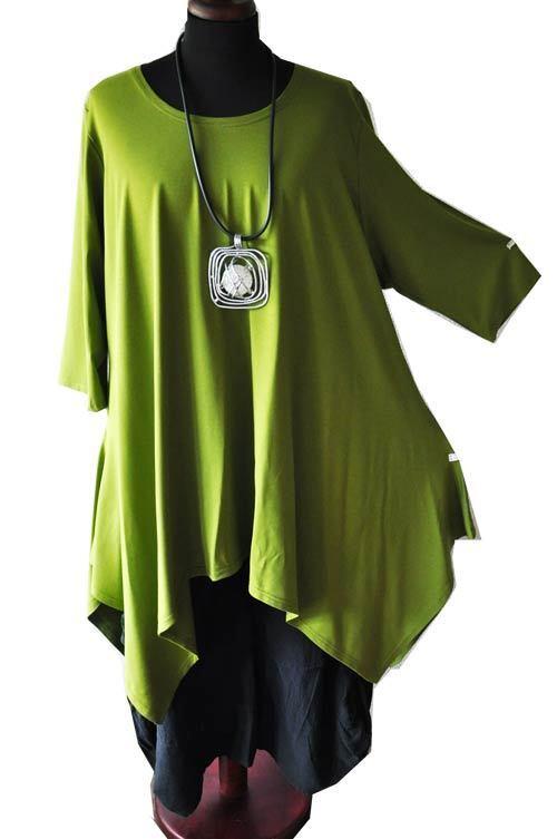 Designer-superposé A-ligne-bout-long - Tunique Pistache Taille 2 - 46,48,xl, Xxl-look A-linie-zipfel-long-tunika Pistazie Gr.2 - 46,48,xl,xxl