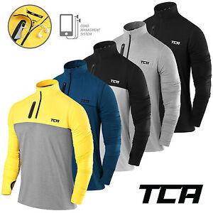 Men-039-s-TCA-Fusion-Soft-QuickDry-Long-Sleeve-Half-Zip-Running-Top-Jacket-Jersey