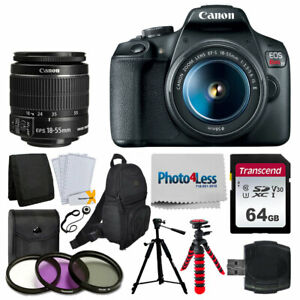 Details about Canon EOS Rebel T7 Camera + 18-55mm Lens + Backpack + 64GB +  2x Tripod + Filters
