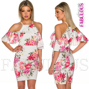 New-Floral-Print-Off-Bare-Cold-Shoulder-Summer-Dress-Party-Evening-Size-6-8-XS-S
