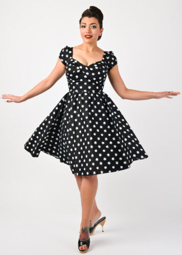 Stop Staring! Pinup /& Rockabilly Lindy Polka Dot Swing Dress New SM-3XL