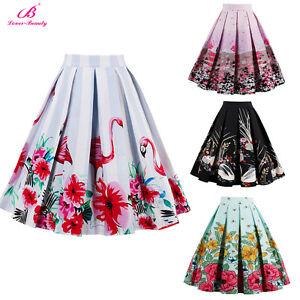 Floral-Print-High-Waist-Dress-Women-Skater-Flared-Pleated-Long-Midi-Skirt-Retro