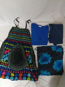LOT-de-4-vetements-M-femme-robe-bretelle-noir-fleuris-bleu-rose-vert-Don-Amigo