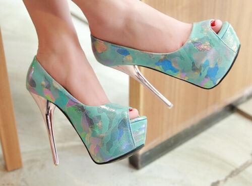 Bleu Femme Éscarpins Talon 13 5 Chaussures Cm Le Et Militaire Décollte Plateau EqpvxwBB