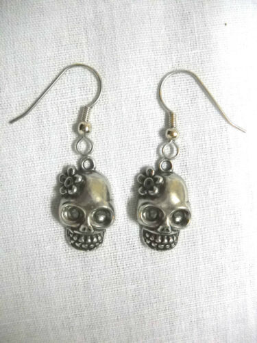 NEW HANDMADE USA CAST PEWTER SUGAR SKULL with FLOWER CHARMS PAIR OF EARRINGS