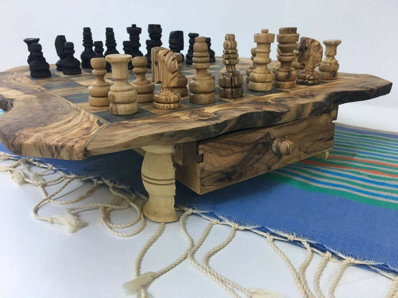 Luxury chess table Olive Wood chess games Wooden Birthday Christmas kids Gift