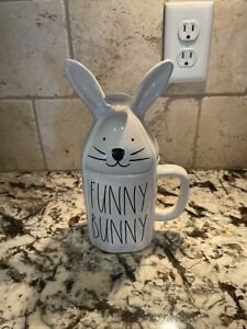 "RAE DUNN ""FUNNY BUNNY"" White Mug with Bunny Ears Topper Easter Spring NEW 🐇"