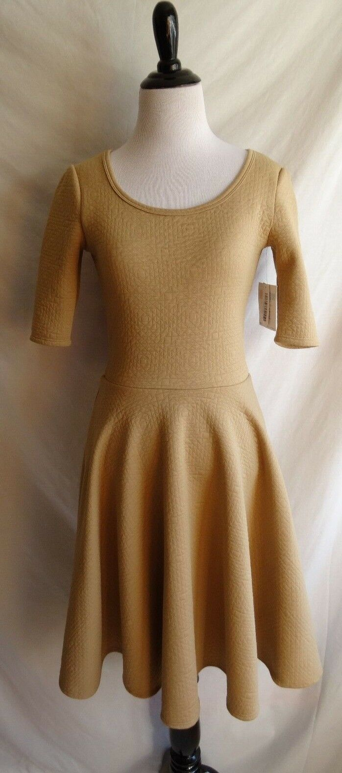 NWT Lularoe Size XS Solid Tan Khaki Light Brown Quilted Nicole Party Dress