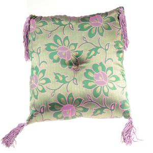 Lotus-Singing-Bowl-Pillow-Cushion-8in-Handmade-Green-Silk-Brocade-Nepal-A81-05