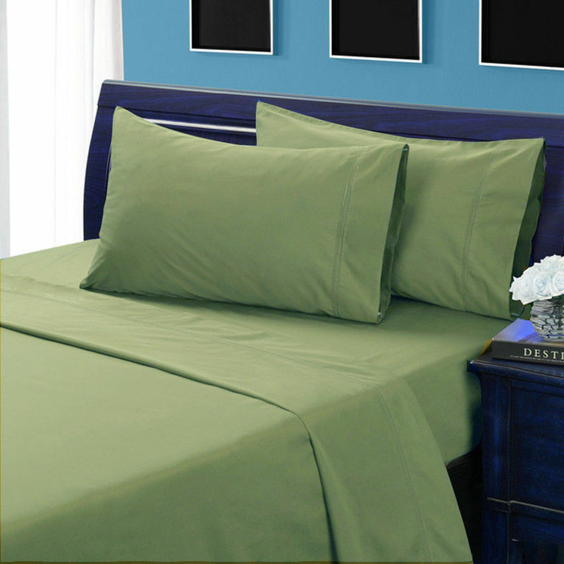 Egyptian Cotton 1000 Thread Count Deep Pkt 6 PC Sheet Set All Size Moss Solid
