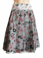 X Nation 2 Layer Light Blue/brown Skirt Uk Size 8 - 10 S 62cm Long Floral