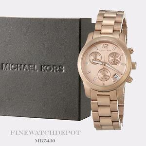 12fae9cc5b0d Image is loading Authentic-Michael-Kors-Ladies-Mini-Runway-Rose-Gold-