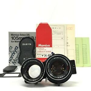 Mamiya-Sekor-DS-105mm-F3-5-TWIN-LENS-REFLEX-BLUE-lenti-per-Mamiya-C-con-scatola-TAPPO-ecc-JC
