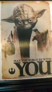 Yoda The Force Framed Wooden Fan Art Wall Hanging