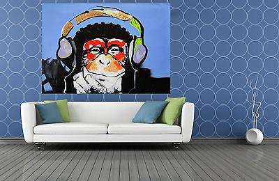 "MASSIVE CANVAS Banksy Street Art Print DJ MONKEY chimp PAINTING 47/"" x 32/"""