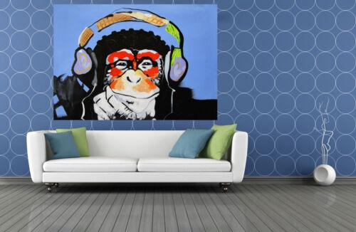 MASSIVE CANVAS Banksy Street Art Print DJ MONKEY chimp PAINTING 59 x 39