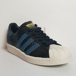 official photos b60b9 e8b23 Details about Adidas Superstar 80s Sneakers Black Blue Reptile Upper Men  Size 5 BB2228 NEW