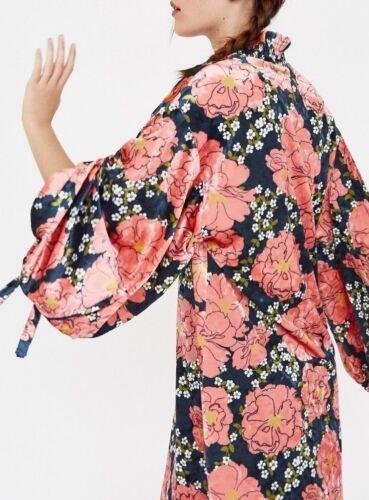 Velluto Kimono floreali S Puffy Sleeves Kleid fiori Samtkleid con Zara a stampe Blumen M Y76fgIbyv